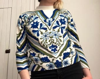 70's floral funnel neck sweater