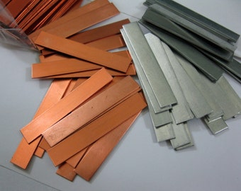 "4 Metal Strips for Stamping, 1/4"" x 1 1/2"", Copper or Aluminum, Ready to Ship!"