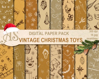Digital Vintage Christmas Toys Seamless Paper Pack, 16 Scrapbooking papers, hand draw, doodle Digital Collage, Instant Download, set 339