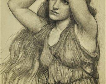 Pre-Raphaelite Study J.W. Waterhouse Woman, Art Print