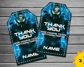 Halo Thank You Tags, Halo Birthday Favor Tags, Halo Party Tags, Halo Favor Tag, Halo Thank You Printables, Halo Game Labels, video game tags