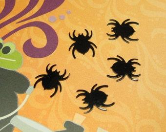 Miniature Halloween spider decoration flat plastic mini crafts 8pcs creepy spooky black embellishment playscale kawaii decoden dollhouse