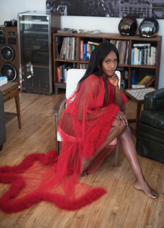 Giselle Cherry Red Sheer Robe With Fur Trim Satin-2825