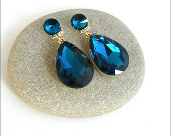 Blue Sapphire /Gold, crystal earrings - Bridal drop earrings - Swarovski crystal earrings, blue Turquoise/gold