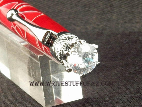 Mother's Day Deep Red Twist Pen, Adorned with Swarovski Crystal and Finished in Chrome Plating