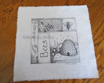 Pen & Ink on Fabric Original Drawing Quilt Square by Monica Minto Bees, beehive