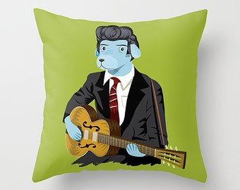 """The Rockabilly Dog - Cushion Cover / Throw Pillow (16"""" x 16"""") by Oliver Lake"""