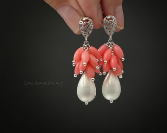 Pearl Cluster Earrings White Pearl Earrings Drop Pearl Jewelry Art Nouveau Earrings Festival Earrings Artisan Earrings Coral Earrings