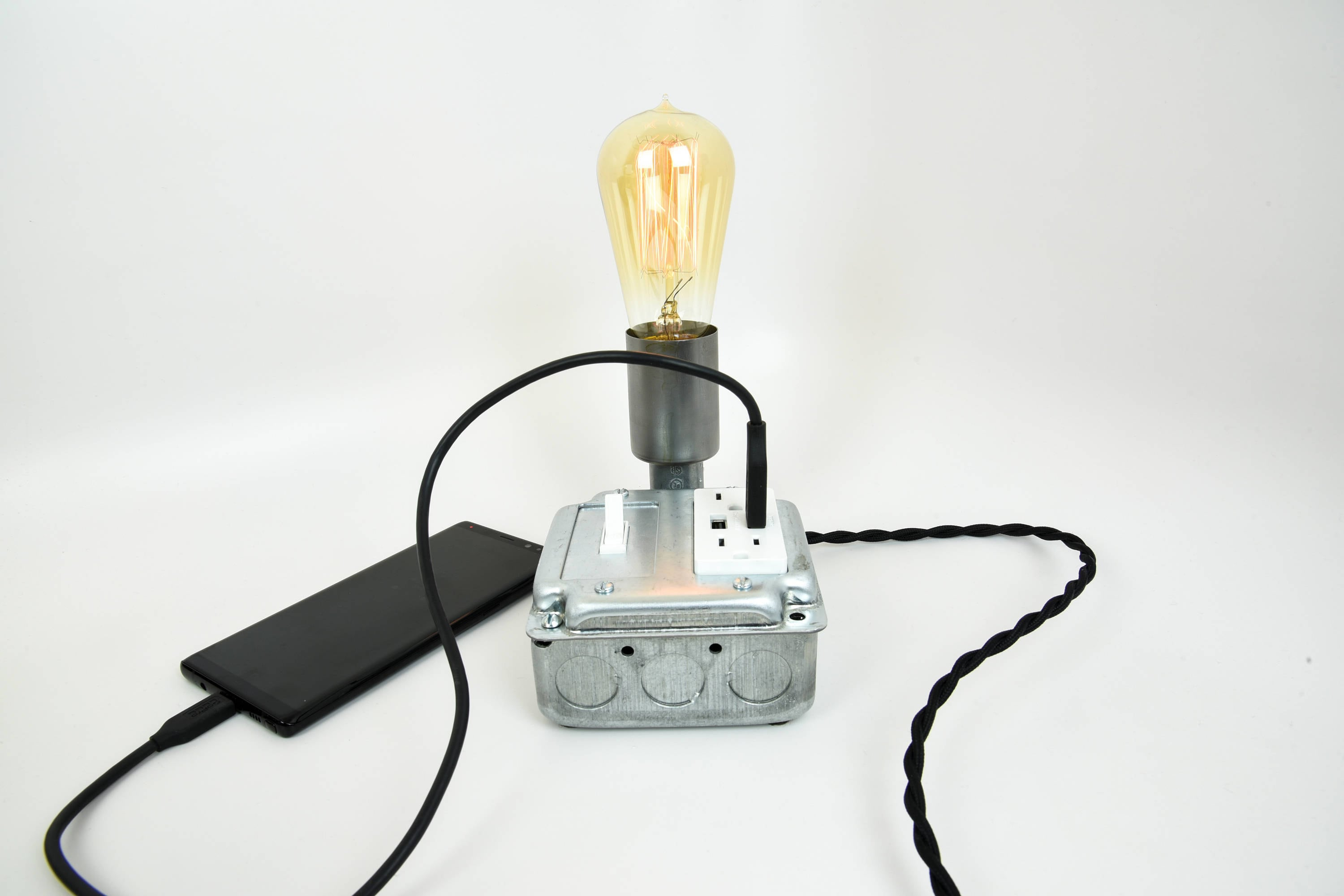 Industrial Table Lamp - USB Charging Station - Fast Charging Station ...
