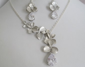 Bridal Jewelry Bridal Accessories Bridal Necklace and earrings set with silver orchard leaflets and cubic zirconia crystals