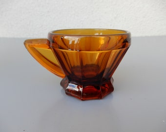 Vintage Art Deco Coffee cup mug brown glass