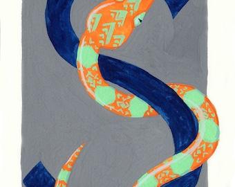 Alphabet Letter S Snake Digital Printable Download Wall Art Kids Room Monogram