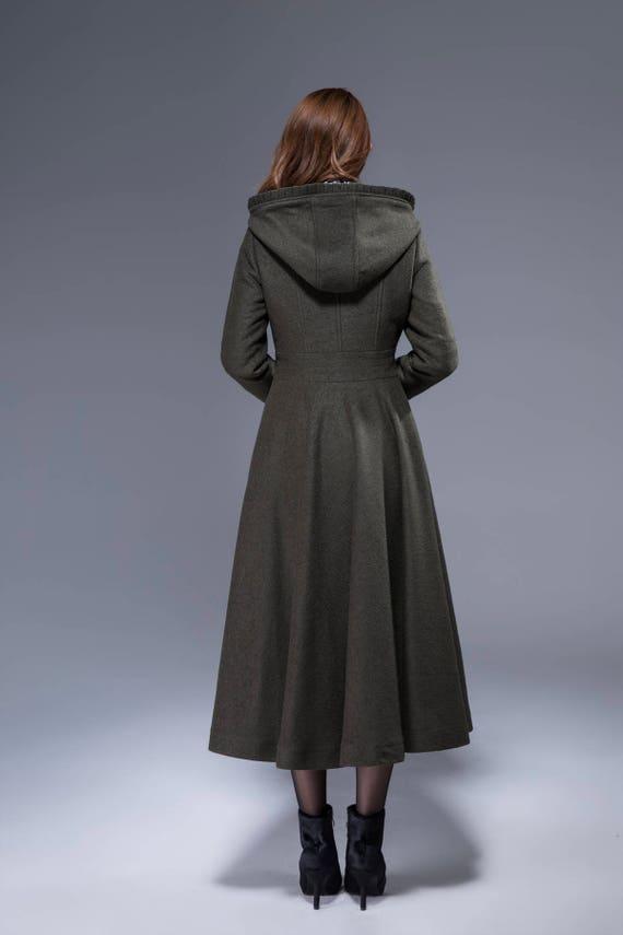 coat coat romantic green trench boho coat 1823 coat coat flare coat fit coat army wool long coat and coat plus hooded ruffle size wvwO1