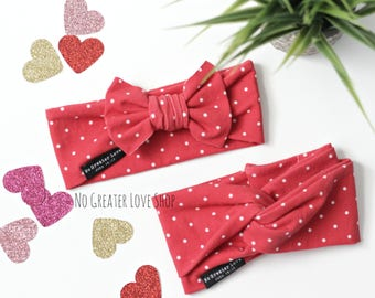 Vintage Red Polka Dots - Turban Headband - Bow Headband - Top Knot - Hipster Headband - Baby Child Adult - Buy One Give One