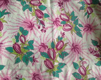 Vintage Feedsack Material Fabric Pink Green White Flowers Floral