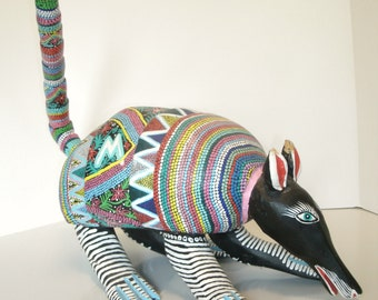 Large Mexican Folk Art Sculpture Wood Alebrije Animal Armadillo Painted Bright Colorful Oaxacan Mexico Signed Margarito Melchor Santiago