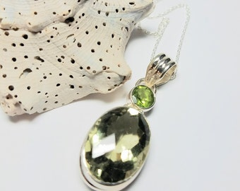 "Exquisite Green Amethyst Pendant, Encased in Stering Silver w/Peridot,SemiPrecious Gem Stone Accents,18""Sterling Silver Chain #274"