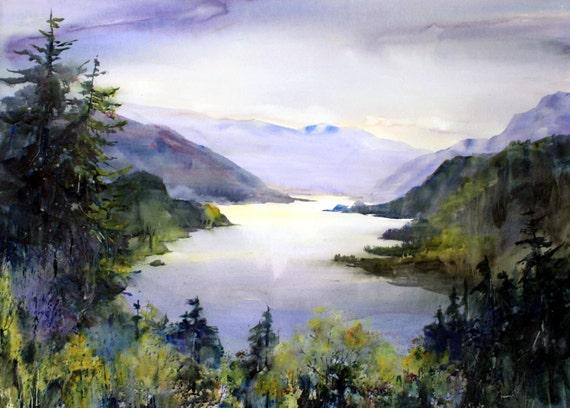 Columbia Gorge 243 - Bonnie White - signed watercolor print - Columbia River Gorge - Columbia Gorge National Scenic Area