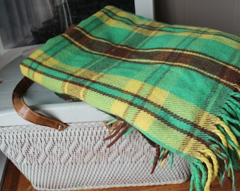 Mid Century Wool Plaid Blanket Picnic Blanket Tailgate Party Green Yellow Brown