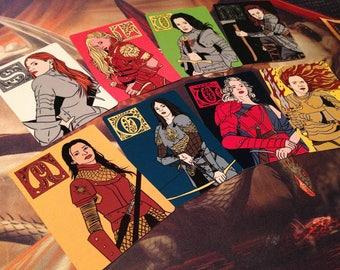 "8x ""Badass Ladies of Westeros"" House Card series"