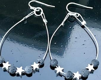 Stars earrings, star bead earrings, celestial jewelry, stars meteorite earrings, lava rock, cosmic jewelry, space jewelry, geek jewelry