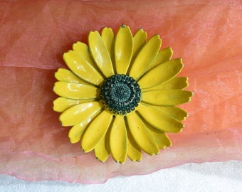 Yellow Sunflower Brooch - Enameled - Free US Shipping - Vintage - Fabulous!