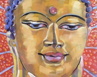 Buddha Bright, Original Oil Painting, 6 x 6 inches, free domestic shipping