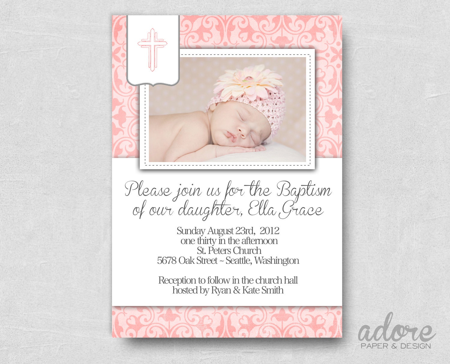 Pink damask printable photo baptism invite choose your zoom stopboris Images