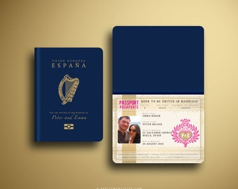EMMA Vintage Irish Passport and Boarding Pass Destination Wedding Invitation