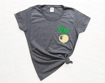Radish Shirt, Food T-Shirt, Vegetable Tee, Graphic Print Shirt, Radish T-Shirt, Farm Clothing, Womens Shirts, Food Clothing, Vegetables