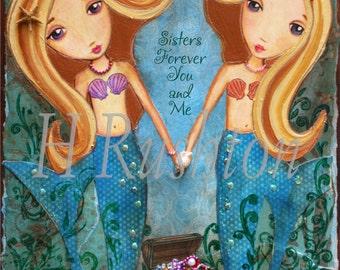 Mermaid Art - Kids Wall Art - Mermaid Print - Mermaid Decor - Sister Gift - Underwater Mermaid Sisters (blondes) - Print Sizes 8x10 and 5x7