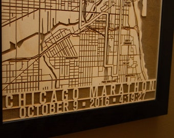 Chicago Marathon Customized Laser Engraved Map