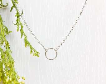 Circle Necklace Sterling Silver, Karma Necklace, Eternity necklace, Dainty necklace, Circular necklace, Silver necklace, Layering Necklace