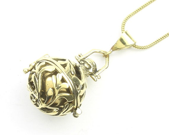 Floral Bola Necklace, Harmony Ball Pendant, Pregnancy Gift, Locket, Meditation, Festival Jewelry, Boho, Gypsy, Hippie, Spiritual