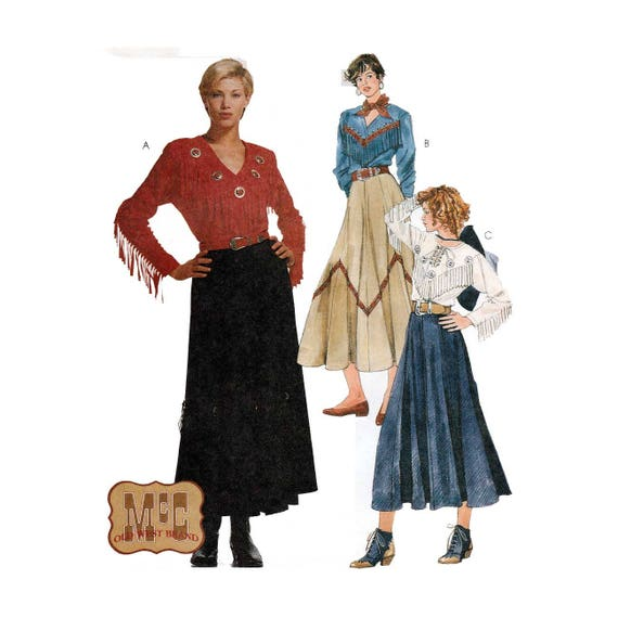 Women\'s Western Wear Sewing Pattern, Flared Skirt and Fringed Top ...