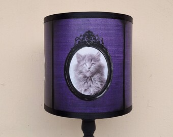 Cute Kitten Cats Purple Lamp Shade Lampshade   Gothic Home Decor, Ultra  Violet Decor,