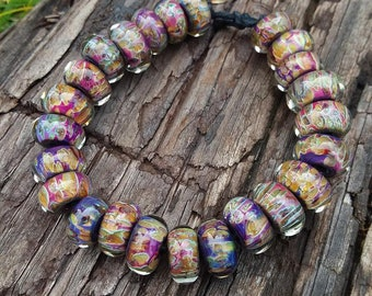 Multicolor Lampwork Glass Beads Set