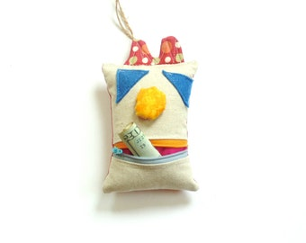 Kids tooth fairy pillow, silly monster zipper pouch, kids room decor lost tooth birthday gift