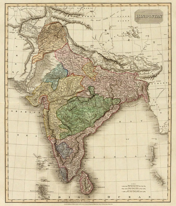 Old map of India Hindustan Canvas Large Wall Decor Vintage