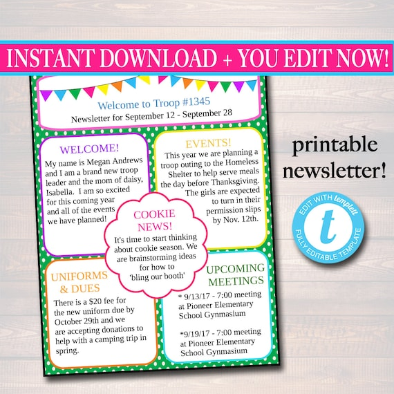 Editable Newsletter Template Instant Download Teacher