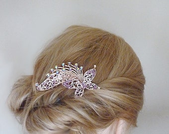 Gold hair comb with butterfly, wedding hair comb, hair comb for wedding, hair jewellery, hair jewelry, bridal hair combs, butterfly comb
