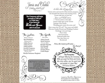 Printable Jamie Wedding Ceremony 8x10 Program (humorous)