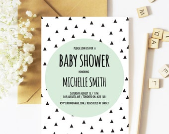 Baby Shower Invitation Boy, Geometric Baby Shower Invitation, Gender Neutral Baby Shower Invitation, Spring, Triangle Invitation, Baby Boy