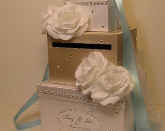 Wedding  Card Box champagne and white Gift Card Box Money Box Holder--Special Custom order.Customize your color