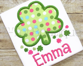 Sweet Shamrock Clover St Patrick's Day Princess Embroidered Shirt Bodysuit - Free Personalization