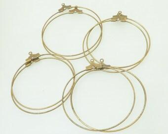 4 pairs of hoops 40 metal color bronze