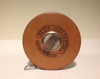 "Vintage Measuring Tape ""BESTE LEDERKAPSEL"" Western Germany."