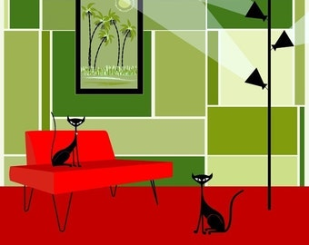 Modern Cats - Scoot & Danger Giclee Art Print by Kerry Beary Mid-Century Modern Black Cats in a Room