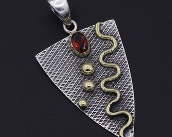 Red Garnet Two Tone Gemstone 925 Sterling Silver Jewelry Pendant 1.68""