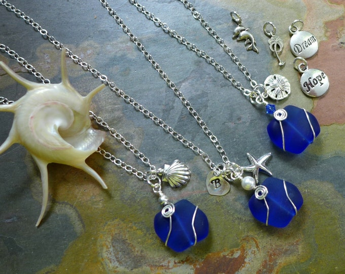 Beach Glass Necklace, Cobalt Blue Sea Glass Necklace with Sea themed Charms andInitial Charm, Beach Weddings, Bridesmaid Necklace/jewelry